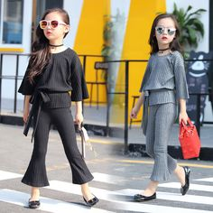 2017 autumn children's clothes fashion stretch knitted baby girl suits for girls big kids causal fla Stylish Dresses For Girls, Kids Outfits Girls, Cute Outfits For Kids, Teenager Outfits, Kids Clothes Boys, Girl Outfits, Children Clothing, Clothing Sets, Baby Dress Design