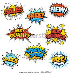 Set of Eight Cartoon Graphic design for promotion of Product Sales, and generic ones like Free or New. by Fourleaflover, via Shutterstock
