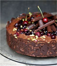 Dark Chocolate Cherry Mousse Cake
