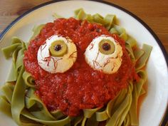 Eyeball Pasta ... I'd change it up some. I don't care for tofu, so I'd probably use a ball of cheese or something lol. And idk if I'd use spinach pasta.