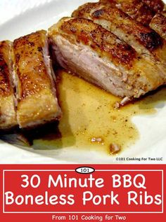 """Moist and tasty. Another weeknight recipe for one of my favorite """"Cooking For Two"""" types of meat, country style boneless pork ribs. A little pan searing, coat with BBQ sauce and finish in the oven. Very good."""