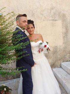 Robe de mariée princesse, buste en dentelle taille basse de chez Mariage en Rose, mariage du 1er Août 2020.