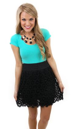 9576aa3648 Right Time   Lace Skirt. Turquoise TopBlack Lace SkirtBlue Door BoutiqueBeautiful  ...