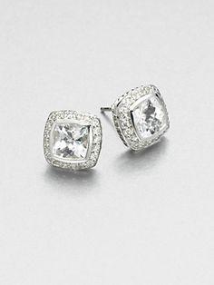 David Yurman - Diamond Accented White Topaz Sterling Silver Button Earrings