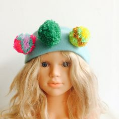 WARM 4-7 Years Headband Kids Cashmere With Pom Poms in Upcycled Wool Unisex