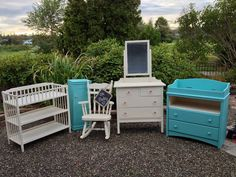 Oh Baby! Refinished nursery furniture in Old White and mix of ASCP Louis Blue, Florence and Provence