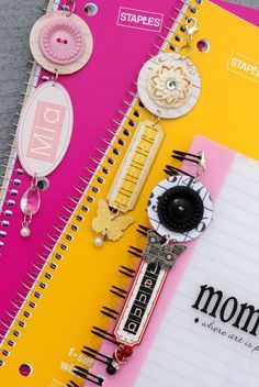 Notebook dangles or Pocket Letter Page charms.
