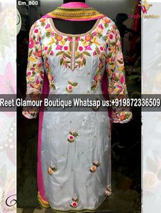 Adorable Gray Embroidered Punjabi Suit Product Code: For more details whatsapp us on 9872336509 (Get Ready your own design in any color and on any fabric, Just contact us) Reet Glamour Boutique Dress Neck Designs, Bridal Blouse Designs, Saree Blouse Designs, Embroidery Suits Punjabi, Embroidery Suits Design, Hand Embroidery, Machine Embroidery, Punjabi Suits Designer Boutique, Designer Suits Online