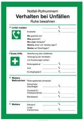 Vorlage Verhalten bei Unfällen | Schilder-Hinweis bei formularbox.de