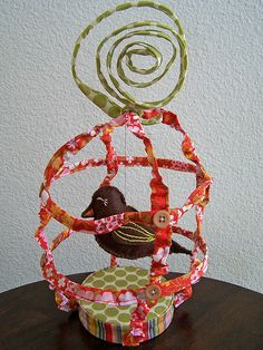 Fabric Bird Cage by Pretty Ditty, via Flickr