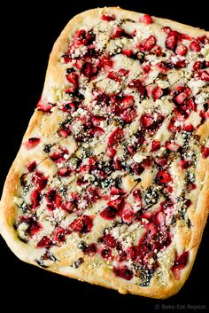 Roasted Strawberry and Feta Focaccia with Balsamic Glaze -  Easy no-knead focaccia with roasted strawberries and feta, and drizzled with balsamic glaze.  Serve it with a salad for the perfect summer meal!