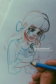 how to draw kawaii Melanie Martinez Drawings, Arte Sketchbook, Sketch Inspiration, Cry Baby, Cartoon Art, Cute Drawings, Art Sketches, Banana Art, Drawing Reference