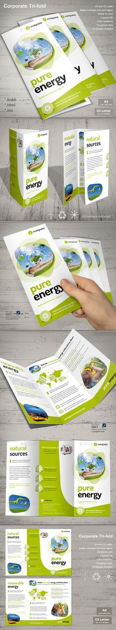 Tri-fold Pure Energy Design Template - Informational Brochures Template InDesign INDD. Download here: https://graphicriver.net/item/trifold-pure-energy/13364916?s_rank=1794&ref=yinkira