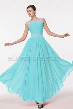 Light Aqua Blue Modest Crystals Prom Dresses Long 8fff661935