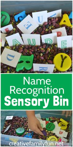 Set up a simple Name Recognition Sensory Bin to help your preschooler get ready for kindergarten. Kids will love this fun name recognition activity.