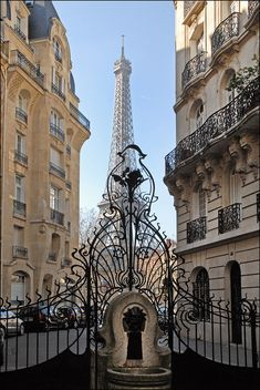Art nouveau gates leading to the Eiffel Tower, Paris, France