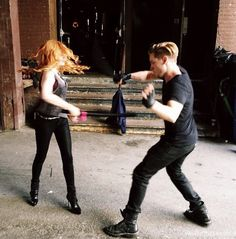 Clary and Jace // Clace // Kat and Dom training // The Mortal Instruments // Shadowhunters // ABC Family // Shadowhunters TV Series