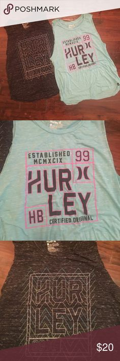 Hurley girls tanks 2pk Two girls Hurley tank tops great for workout! Both size small and work well with leggings. Hurley Tops Tank Tops