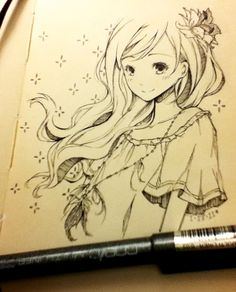 ✮ ANIME ART ✮  anime girl. . .hair. . .flower. . .fashion. . .necklace. . .sketchbook. . .pen. . .drawing. . .doodle. . .cute. . .kawaii