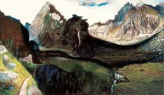 Valley of Great Tarpatak in the High Tatras (Tivadar Csontvary Kosztka - ) High Tatras, Post Impressionism, Art Inspo, Oil On Canvas, Northern Lights, Illustration Art, Illustrations, Symbols, Landscape