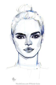 Watercolour fashion illustration - face drawing, fashion sketch // Nicole Guice