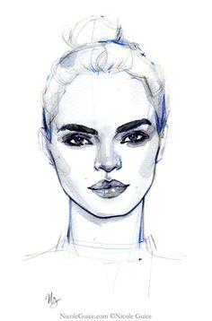 Watercolour fashion illustration - face drawing, fashion sketch // Nicole Guice