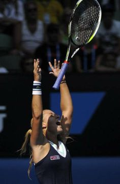 Dominika #Cibulkova of Slovakia celebrates semifinal at the Australian Open #tennis
