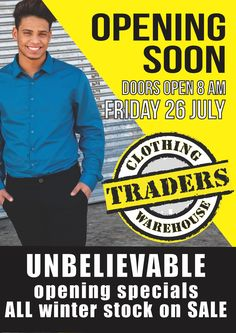 Posters for opening of Traders Warehouse Wynberg store. Retail Design, Warehouse, Advertising, Posters, Store, Storage, Poster, Postres, Business