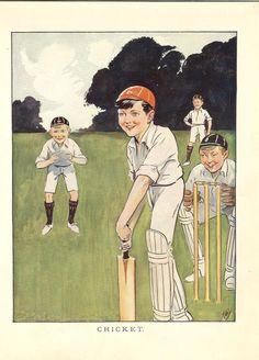 1923 Vintage Children's Print Playing Cricket.