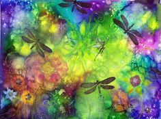 dylusions Ink spray Dragonfly dance by dragonflywatercolors.deviantart.com on @deviantART