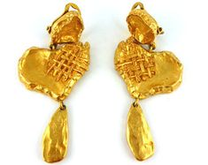 CHRISTIAN LACROIX * Gorgeous vintage heart shaped dangling earrings
