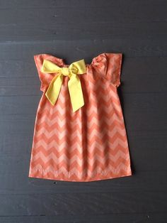 Girls Fall Thanksgiving Peasant Dress OR Top & Bow Detail. 2 tone Orange Chevron. Removable Yellow Bow. Any sleeve. By EverythingSorella on Etsy, $34.50