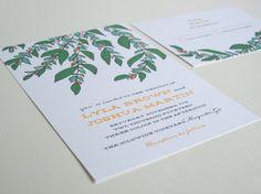 illustrated botanical floral, DIY printable Wedding Invitation set, custom colors - Lyla design
