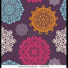 Seamless Pattern With oloured Circle Ornament On Black Background, Mandala - Vector Circle Ornament, Design Element