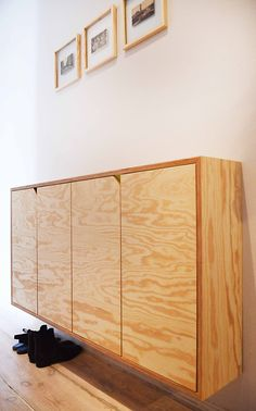 Seekiefer, pain wood, plywood cupboard, sideboard, cabinet.