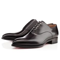 Christian Louboutin New Platers Flat Black Leather Derbies Mens