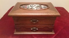 Vintage Wood Jewelry Box with Tapestry Pin by sistersvintageattic