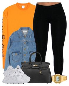 A fashion look from February 2017 featuring denim jackets, legging pants and Casio. Browse and shop related looks. Cute Swag Outfits, Chill Outfits, Nike Outfits, Trendy Outfits, Summer Outfits, Teenager Outfits, College Outfits, Vetement Fashion, Mein Style