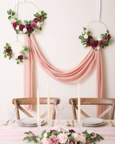 A vintage wedding backdrop idea with fabric, and floral hoops hanging down. A vintage wedding backdrop idea with fabric, and floral hoops hanging down. Vintage Wedding Backdrop, Wedding Ceremony Backdrop, Wedding Table, Rustic Wedding, Wedding Backdrop Design, Backdrop Decor, Wedding Backdrops, Lilac Wedding, Summer Wedding