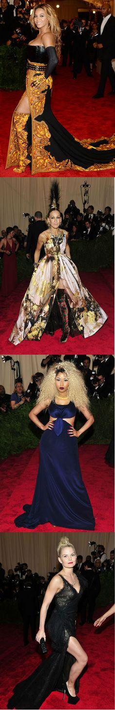 En la alfombra roja del MET: La cantante Beyoncé portó un vestido de la casa Givenchy.AFP, Sarah Jessica Parker apareió en el evento con un tocado 'mohawk' a compañada de Hamish Bowles, editor de Vogue. AP, La rapera Nicki Minaj vistió un diseño de Tommy Hilfiger.AP, Protagonista de la serie Once Upon a Time, Jennifer Morrison en un Donna Karan. Ap