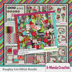 Naughty List Mega Bundle by #AmandaCreation She Did It!  He Did It!  I hear it all day.  Santa's coming soon in his reindeer and sleigh.  Good little children get presents with bows, bad ones get nothing or bags full of coal. #thestudio #digitalscrapbooking