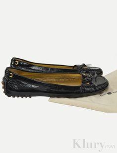 $125 Car Shoe by Prada Classic Black Patent Flats