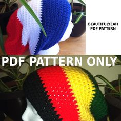 african coloe beanies   ... rasta or solid slouchy hat beanie - stripes, african, jamaica, crochet