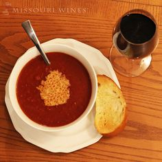 Warm up this winter with a bowl of tomato soup and a glass of Missouri Norton wine. Cooking With Red Wine, Wine With Ham, Tomato Soup Recipes, Wine Recipes, Sushi Happy Hour, Dry Red Wine, Bowl Of Soup, Easy Weeknight Meals, Recipe Using
