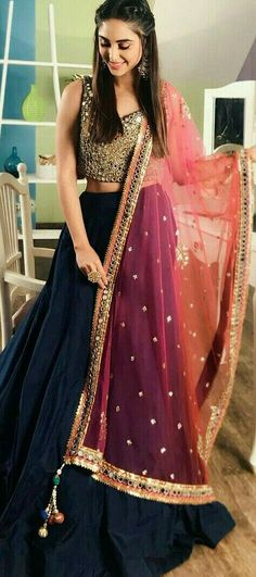Get yourself dressed up with the latest lehenga designs online. Explore the collection that HappyShappy have. Select your favourite from the wide range of lehenga designs Pakistani Dresses, Indian Dresses, Indian Outfits, Indian Attire, Indian Wear, Moda Indiana, Indian Lehenga, Blue Lehenga, Lehnga Dress