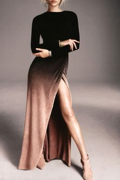 Side Slit Long Sleeves Gradient Color Dress BLACK: Long Sleeve Dresses | ZAFUL