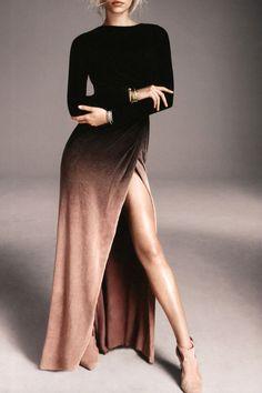 Side Slit Long Sleeves Gradient Color Dress BLACK: Long Sleeve Dresses | ZAFUL