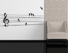 Birds on a wire wall decal, music wall decal, bedroom wall decal, dorm room wall decor, living room Dorm Room Walls, Wall Decals For Bedroom, Wood Wall Decor, Bathroom Wall Decor, Target Wall Decor, Music Decor, Beautiful Interior Design, Modern Wall, Wall Stickers