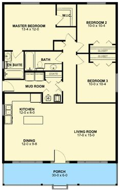 1260 Sqft Floor Plan House 3 Bedroom 2 Bath 1 Story, Porch, Mud/