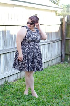 Blogger Kirstin Marie in a Deb Shops #lace #dress